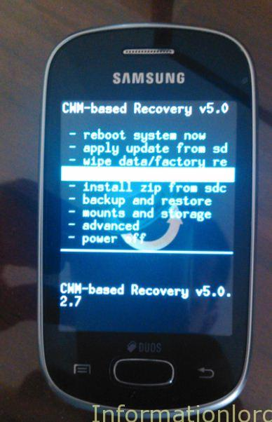 cwm recovery on samsung star