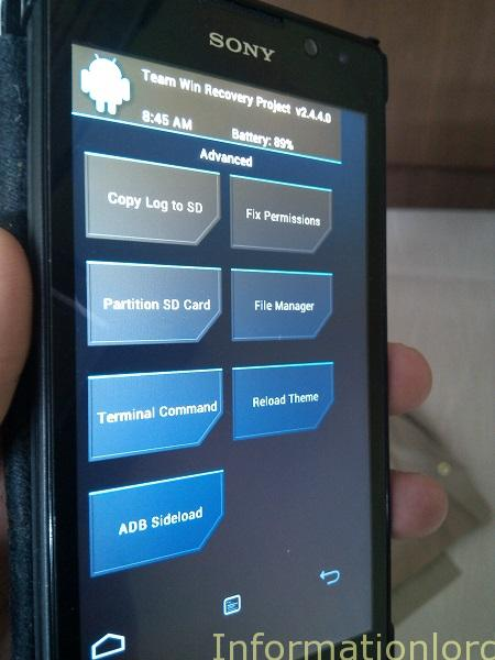 TWRP for Xperia C - Information Lord
