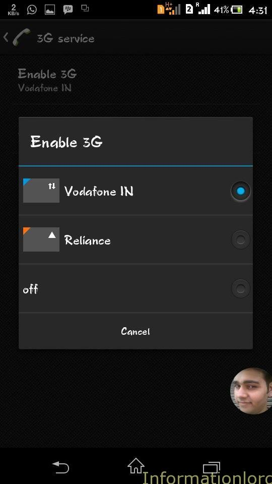 enable 3g on xperia c