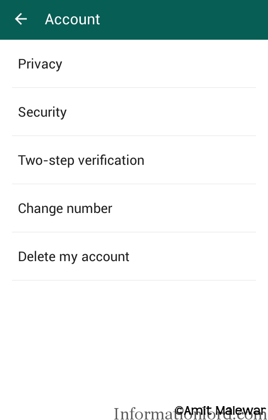 How to get account settings in whatsapp