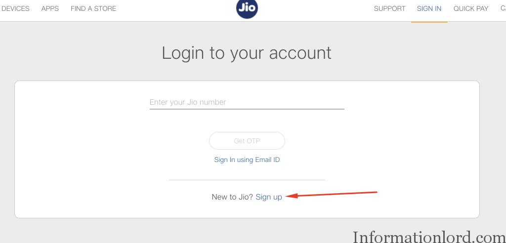 How to create username and password jio