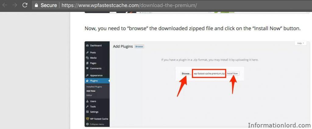 Name of the premium Wp Fastest Cache plugin zip